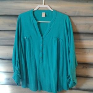 Long sleeve teal crinkle fabric blouse